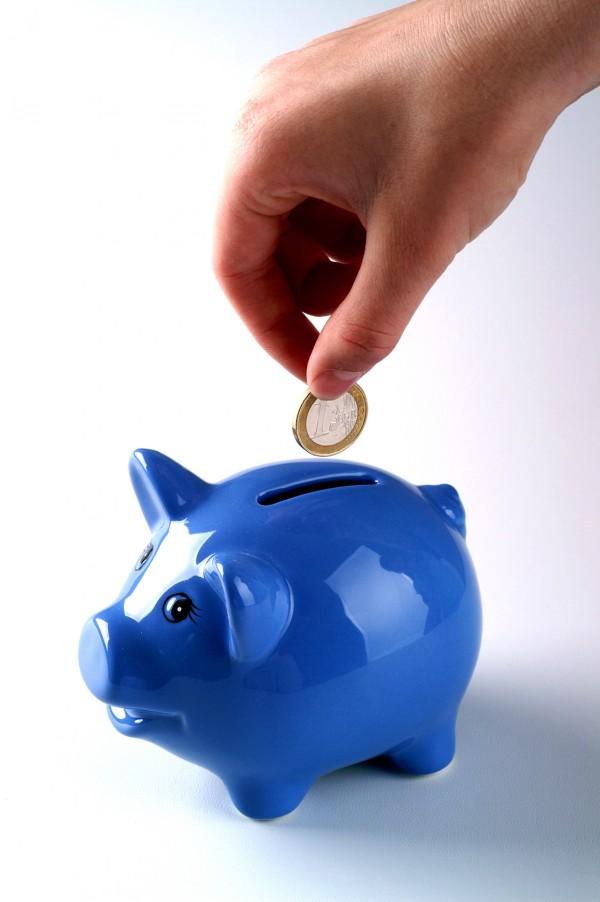 Bild von Sparschwein, in das ein Euro gesteckt wird