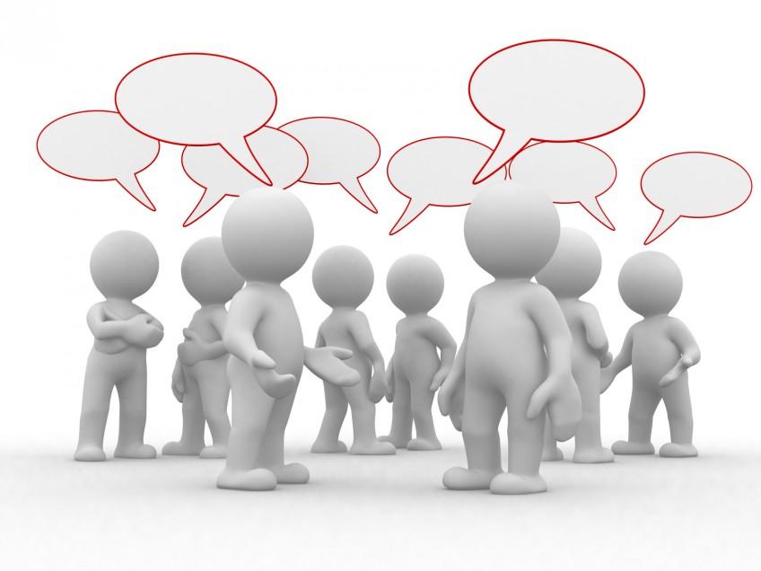 Gruppe von 3D-Männchen mit Sprechblasen reden durcheinander