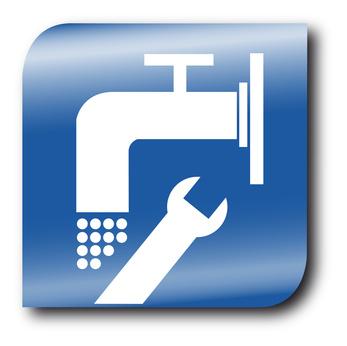 Haben die Wohnungseigentümer beim Wasserschaden das Nachsehen? Piktogramm von Reparatur.