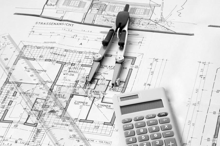 Aufteilungsplan für das Wohnungseigentum mit Rechner, Zirkel und Lineal